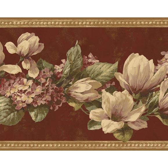 magnolia hydrangea non woven wall border 580x580