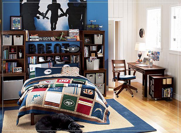 White Boys Room Design With Wallpaper Mural   Pbteen Boys Room Design 617x454
