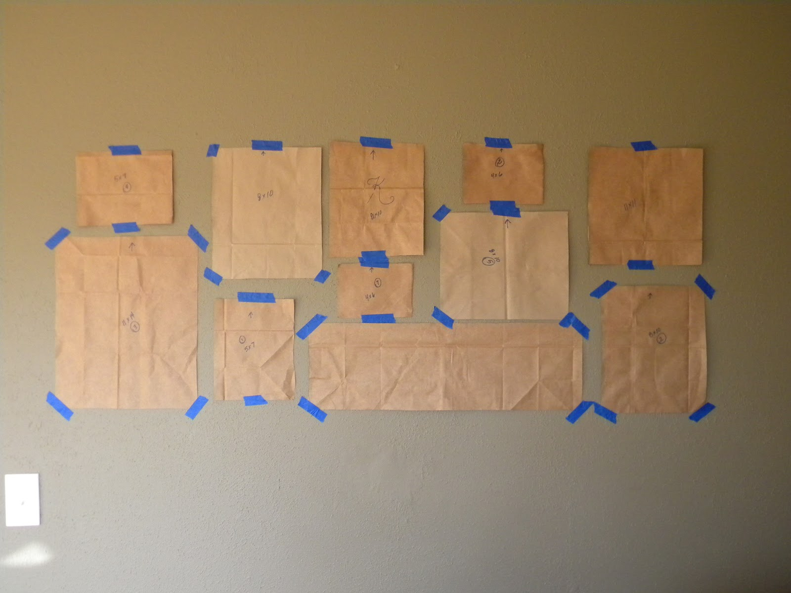 Trace your selected frames on brown paper bags cut out and tape to 1600x1200