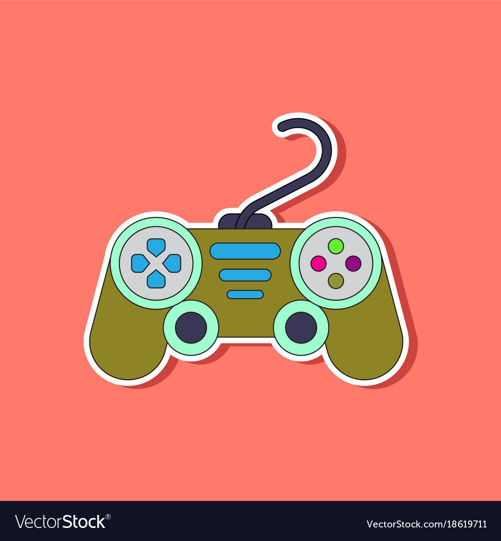 Paper sticker on background of game joystick Vector Image 1000x1080