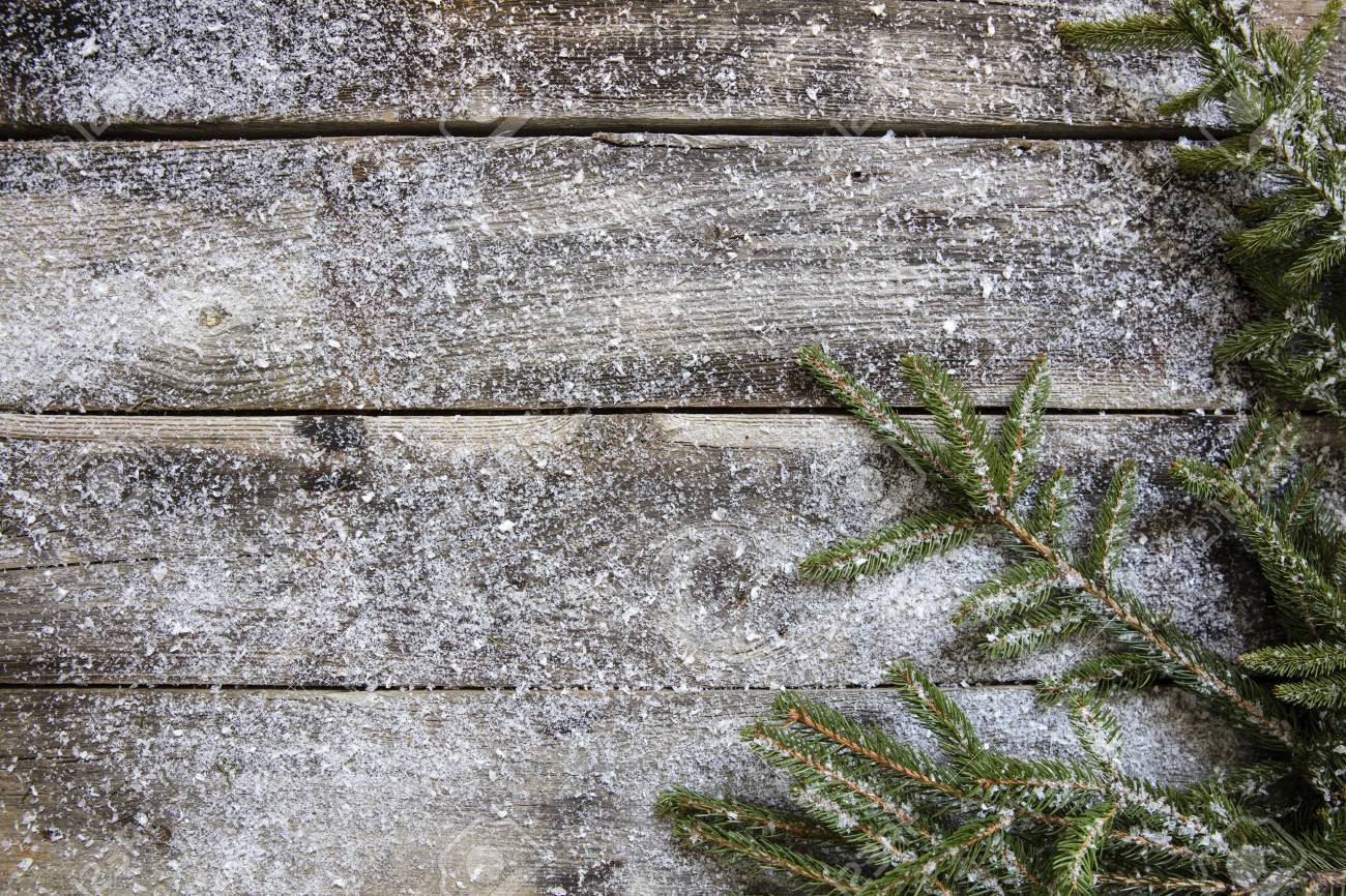 Snowy Old Rustic Wooden Timbers And Fir Twigs For Genuine Winter 1300x866