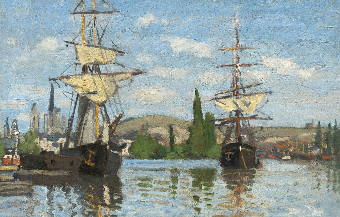 Wallpaper landscape picture Claude Monet Sailing Ships on the 1332x850