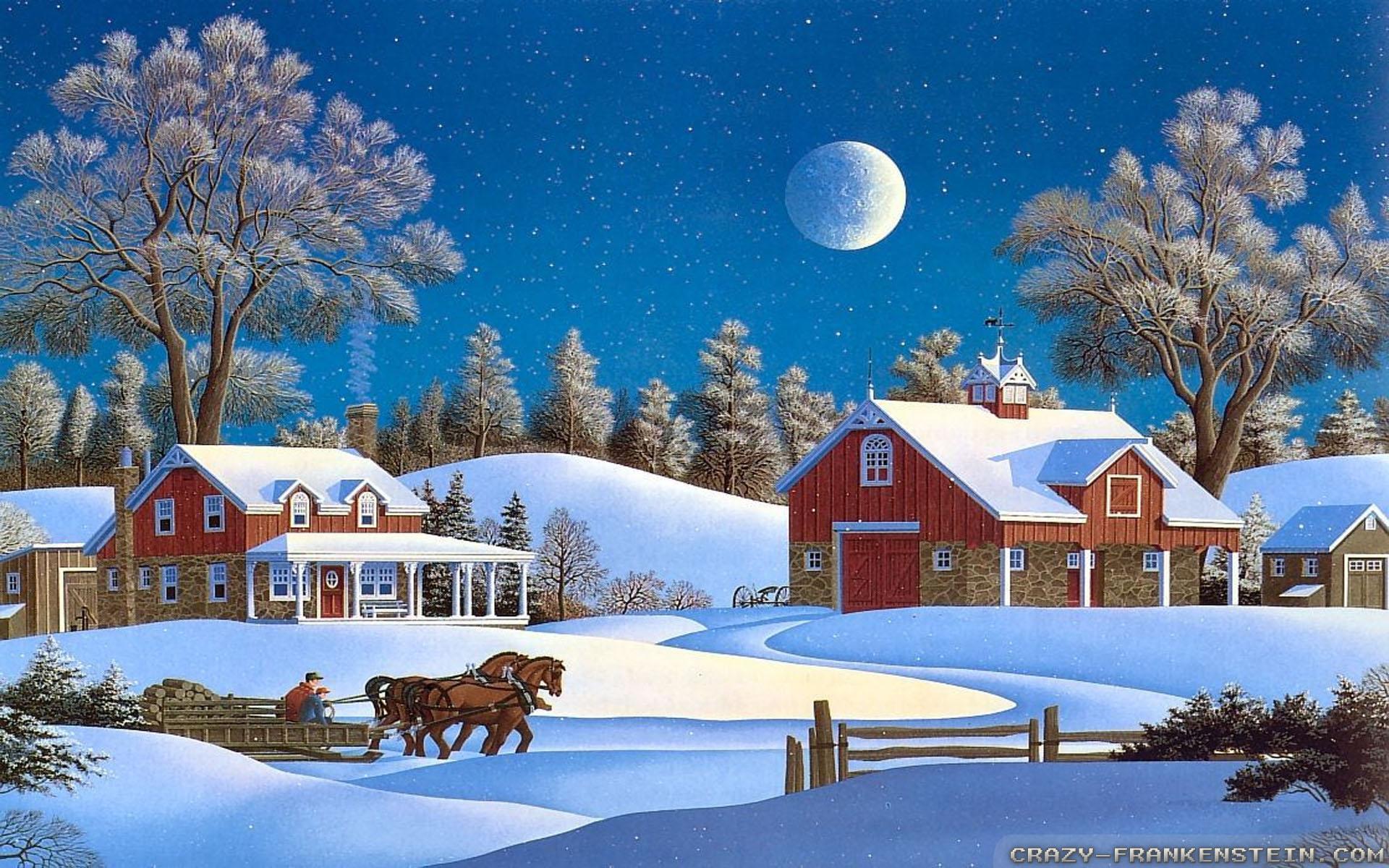 Christmas farm wallpaper wallpapersafari - Country christmas computer wallpaper ...