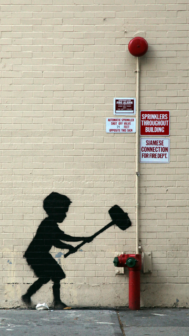 Download Banksy Graffiti New York City iPhone 5s Wallpapers 640x1136