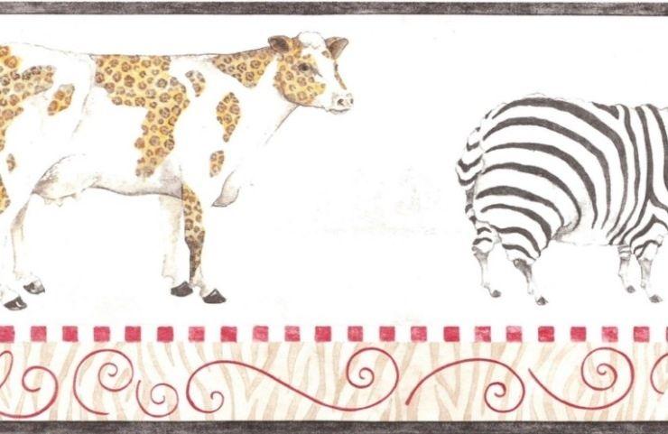 Wallpaper Border Fun Tiger Print Cow Zebra Sheep Pig eBay 740x481