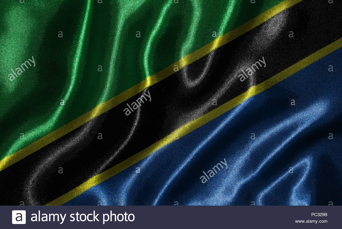 Tanzania flag   Fabric flag of Tanzania country Background and 1300x871