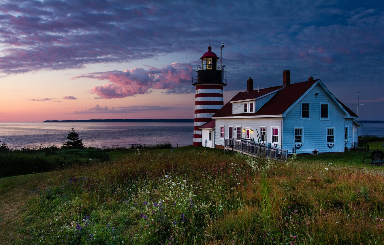 Wallpaper the sky grass house lighthouse morning USA United 1332x850