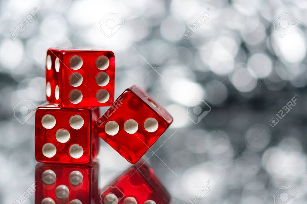 Red Sic Bo Dice With Sparkling Background Stock Photo Picture And 1300x866