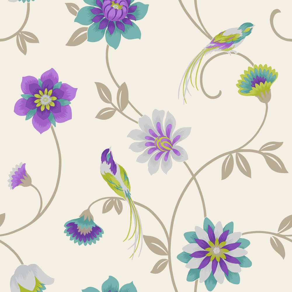 Fine Decor Eden Bird Designer Feature Wallpaper Cream Purple Teal 1000x1000