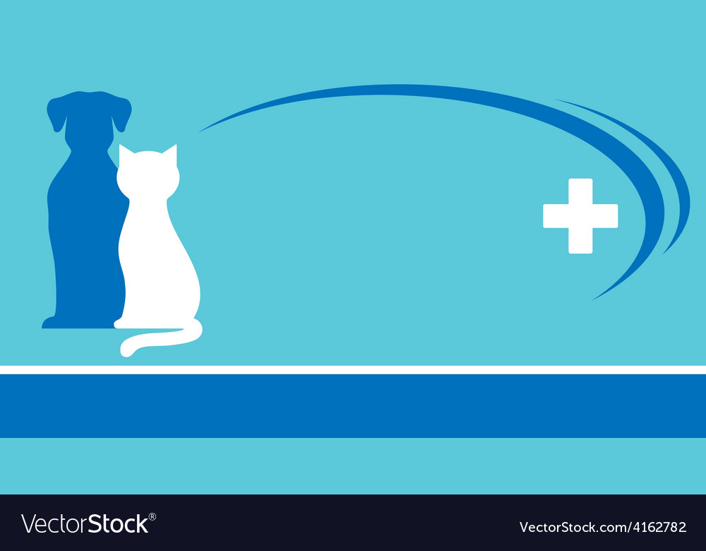 Blue veterinarian background and pets silhouettes Vector Image 1000x780