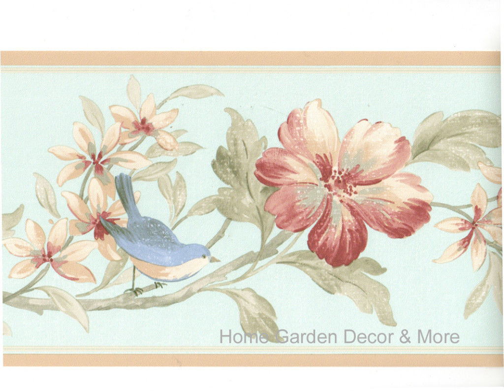 Blue Bird Red Burgundy Flower Floral Wall paper Border 1024x794
