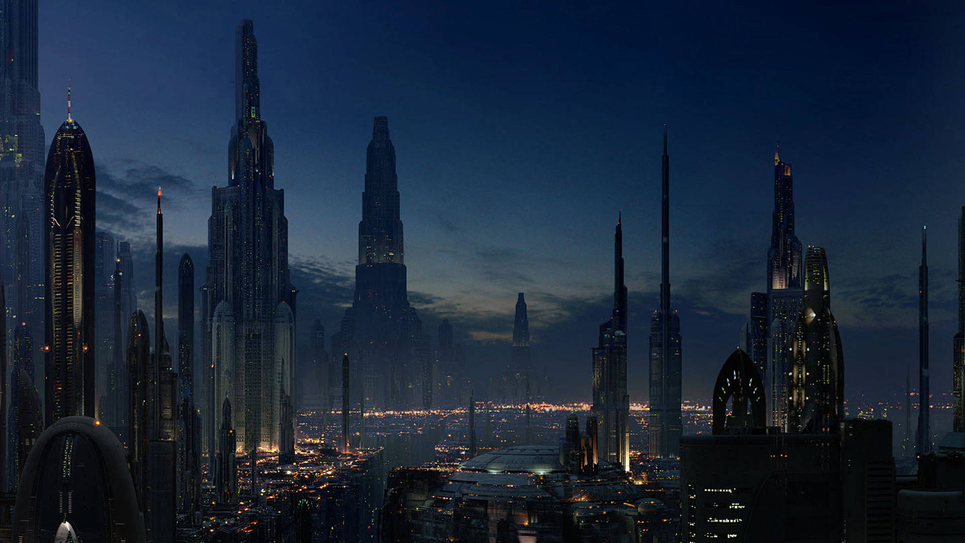 Coruscant city at night wallpaper city wallpaper 1920x1080
