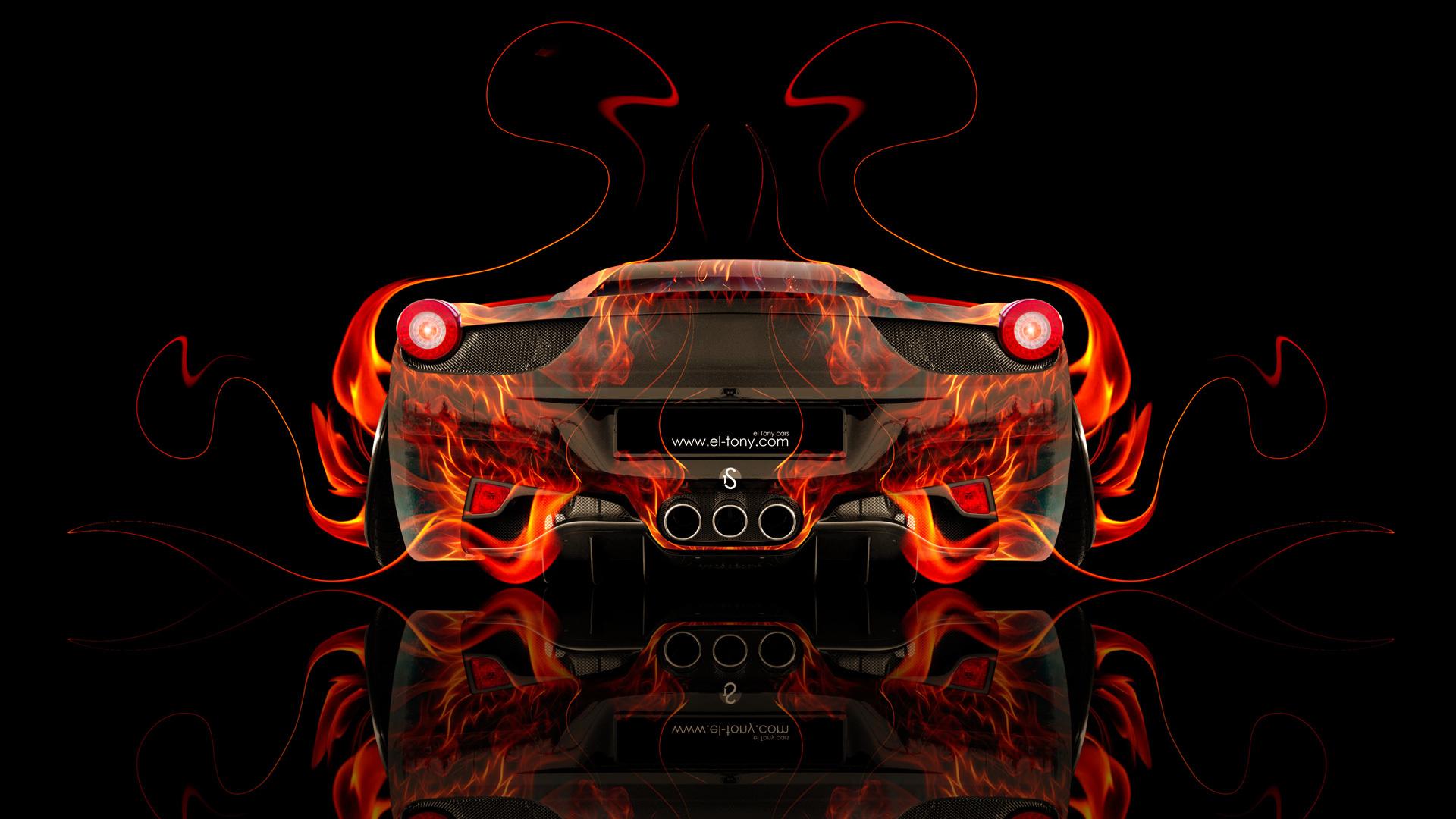 Wallpaper tony kokhan ferrari italia 458 back fire abstract car 1920x1080