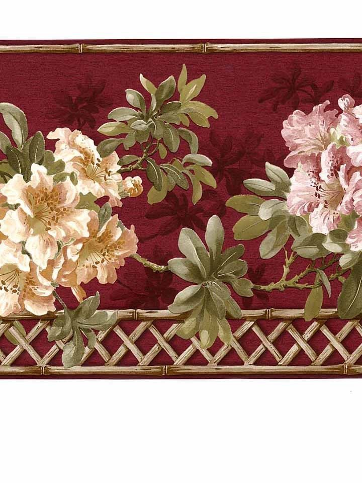 Free Download Burgundy Red Hydrangea Bamboo Wallpaper Border