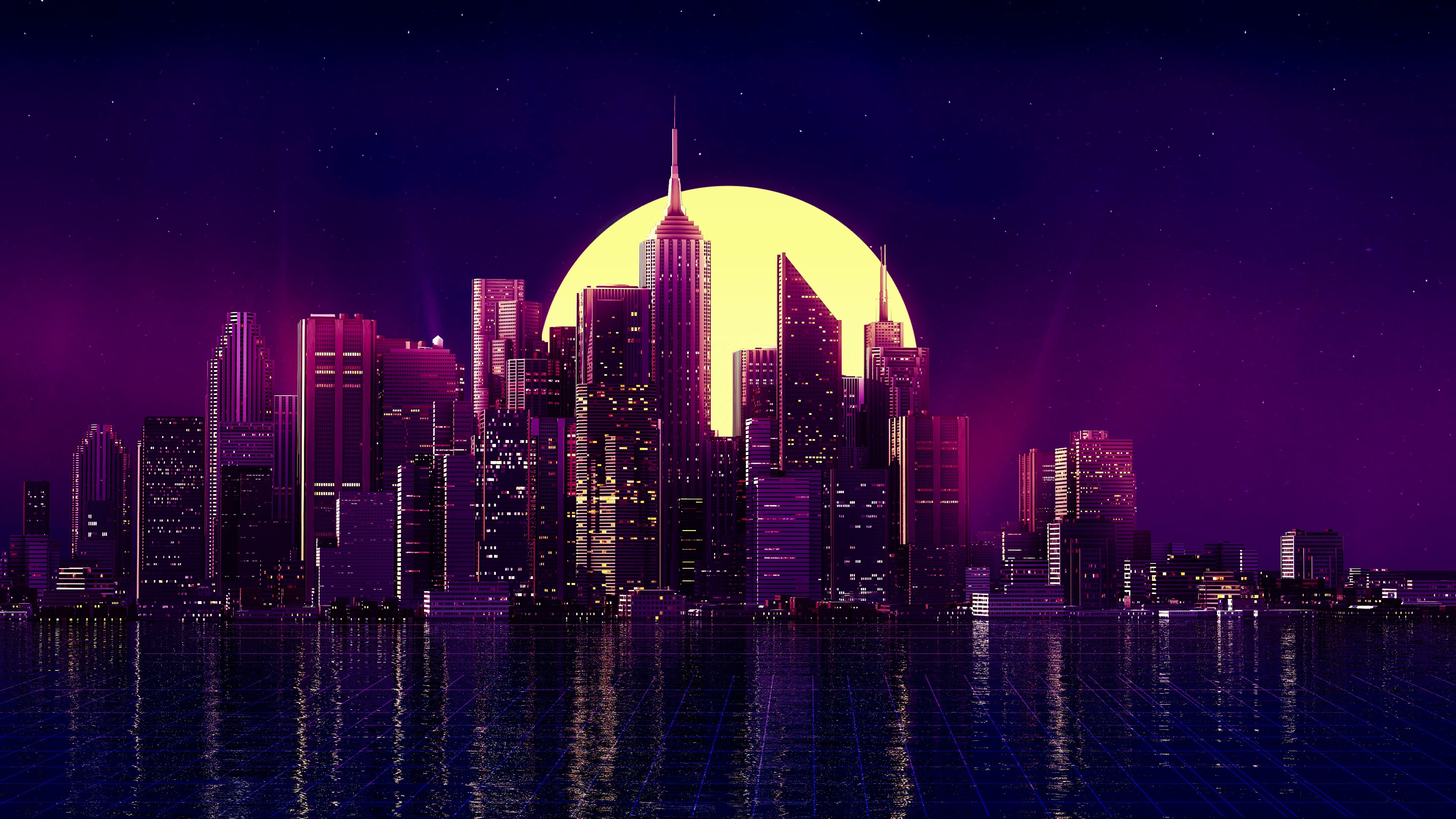 City Buildings Night Cityscape Skyscraper Minimalist 7680x4320
