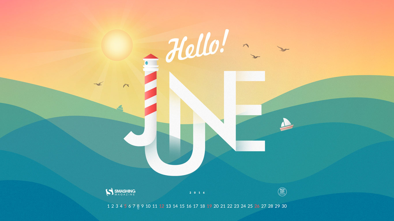 Desktop Wallpaper Calendars June 2016 Smashing Magazine 1366x768