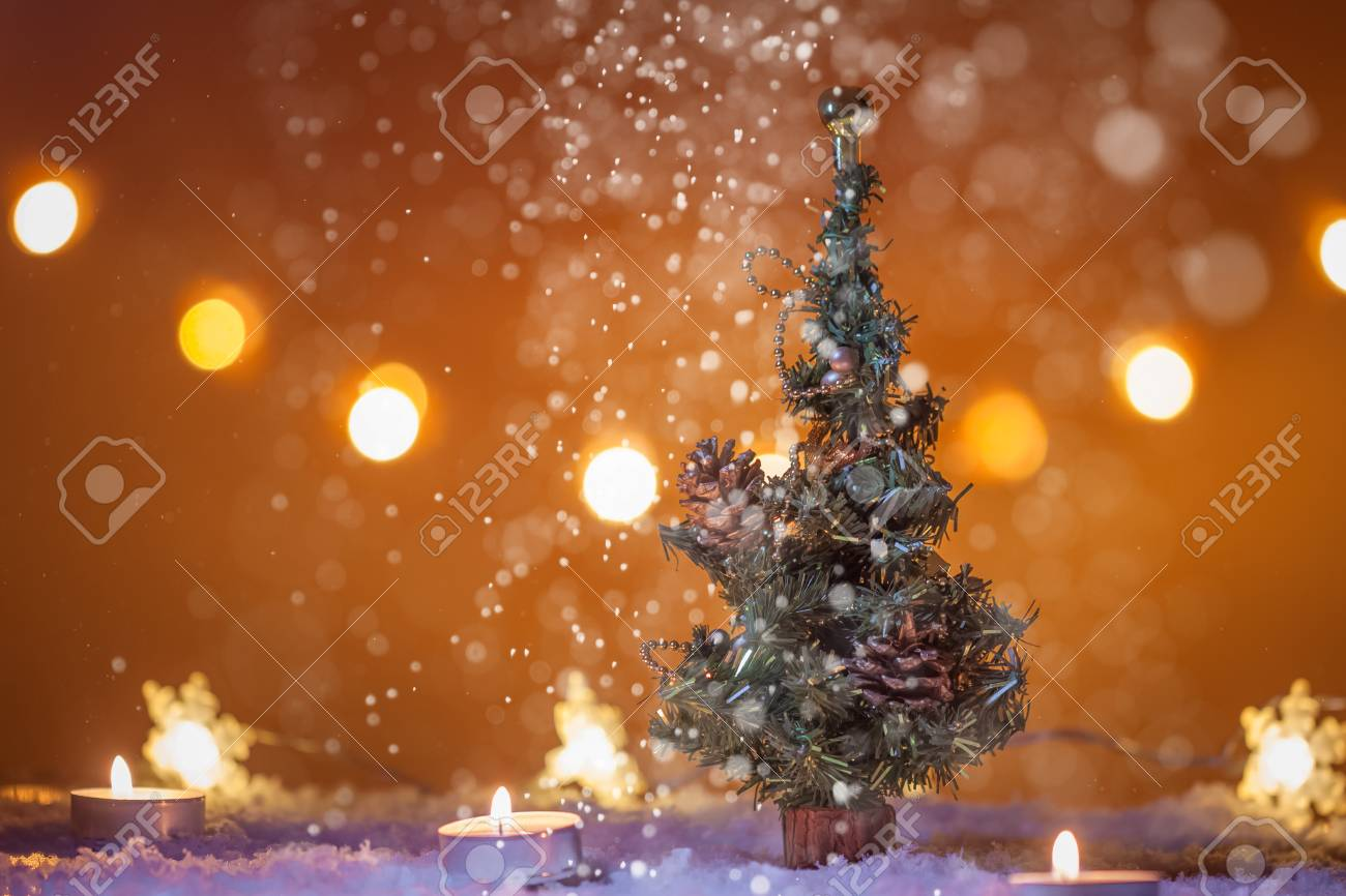 Chirstmas Background With Christmas Tree Snow Candles Lights 1300x866