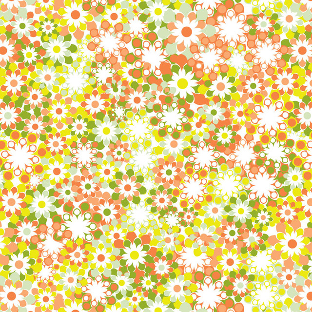 Flower Bunch   Green Orange Wall Mural contemporary wallpaper 640x640