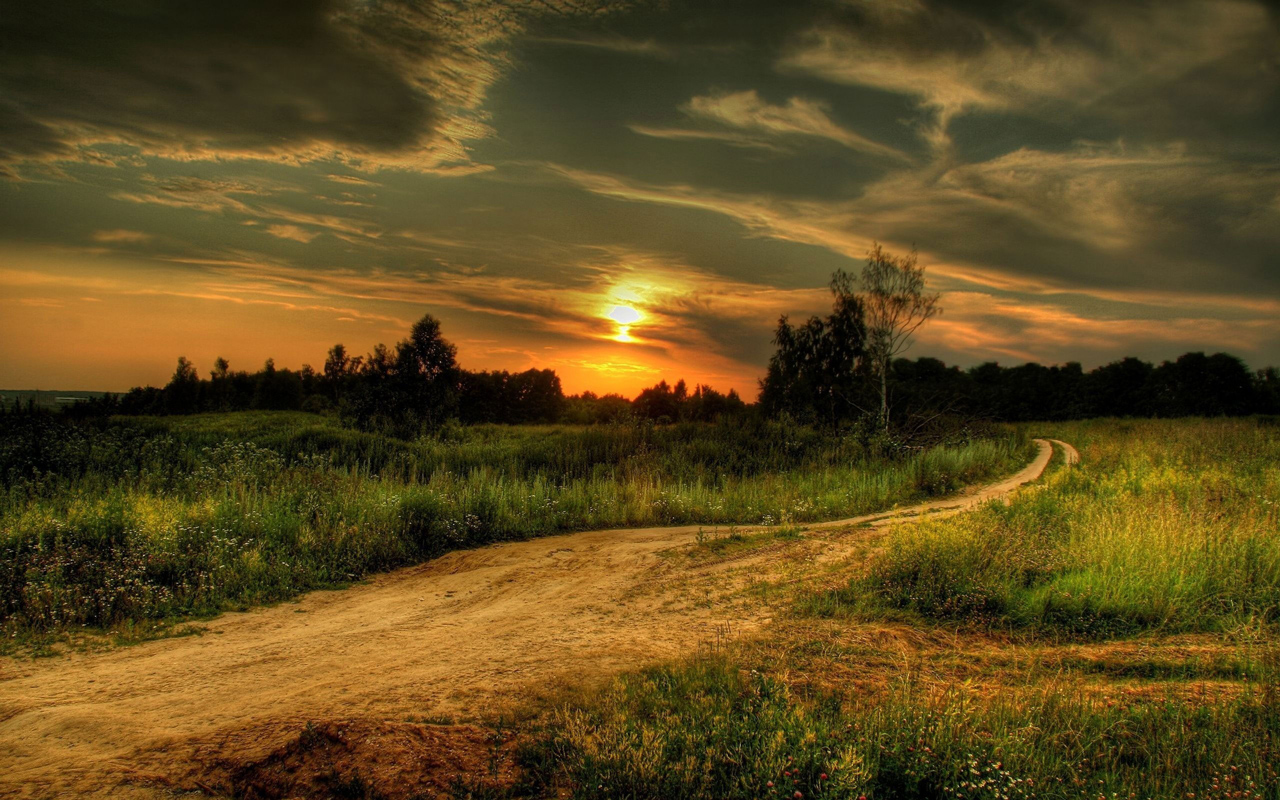 Country Road At Sunset computer desktop wallpapers pictures 1280x800