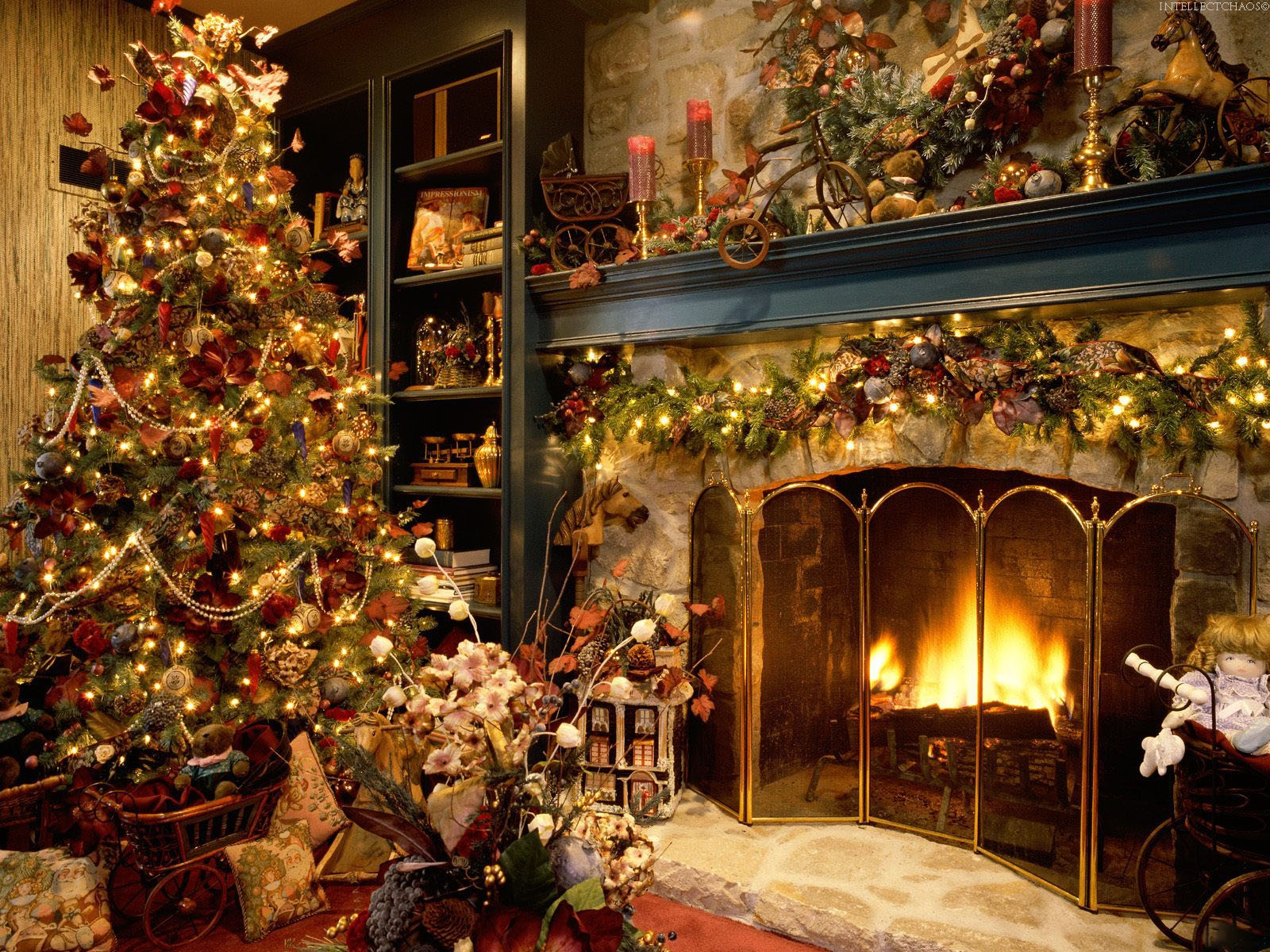 Christmas wallpapers Holiday fireside   Christmas 011444 jpg 1600x1200