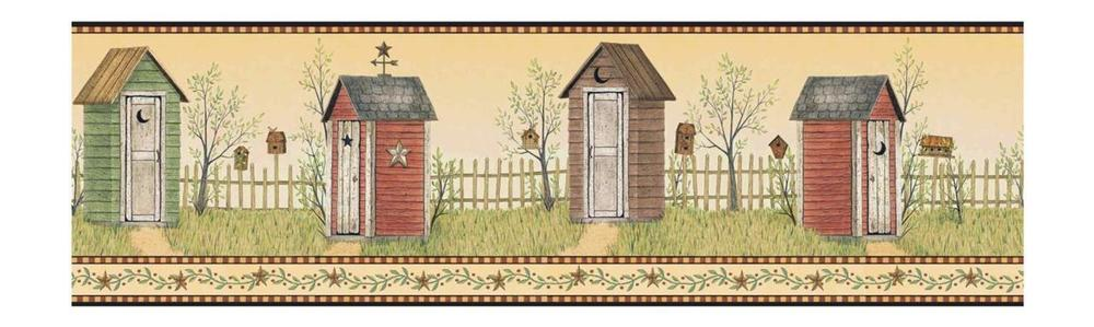 inch Outhouses Prepasted Wallpaper Border Yellow Country Bathroom 1000x299