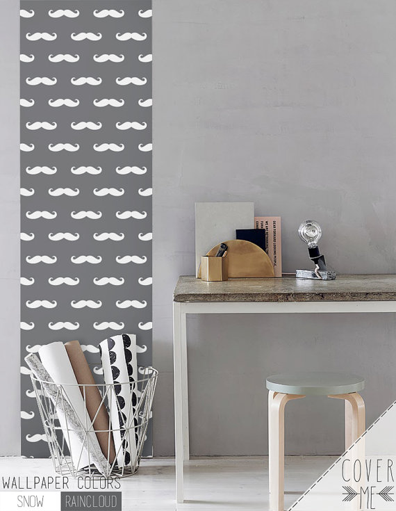 Peel and Stick vinyl Wallpaper Mustache by CoverMEwallpapers 570x735
