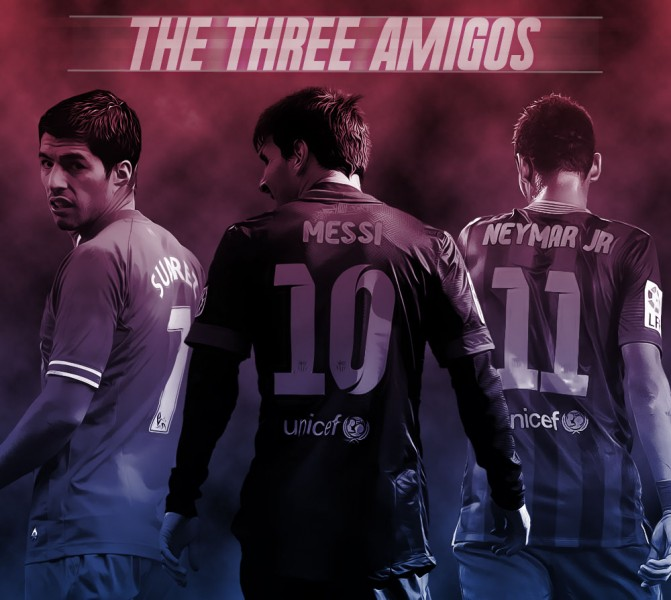 Luis Surez Lionel Messi and Neymar FC Barcelona wallpaper 2014 671x600