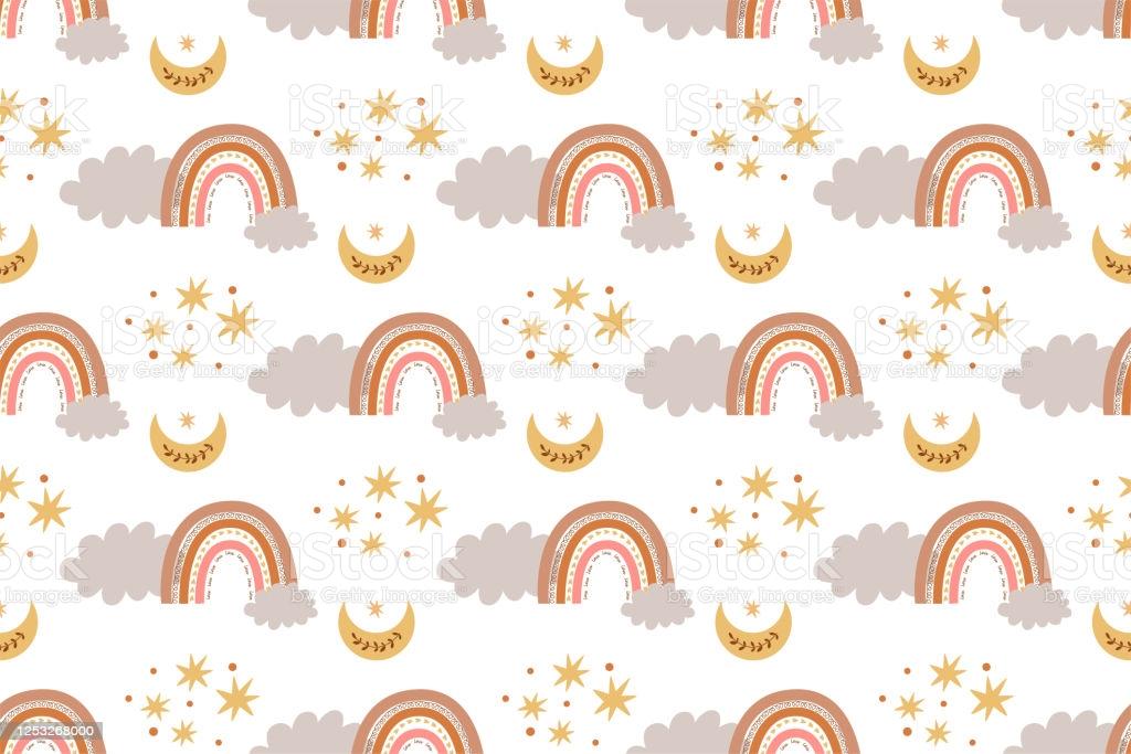 Kids Boho Rainbow Pattern Modern Pastel Rainbows Moon Clouds Baby 1024x683