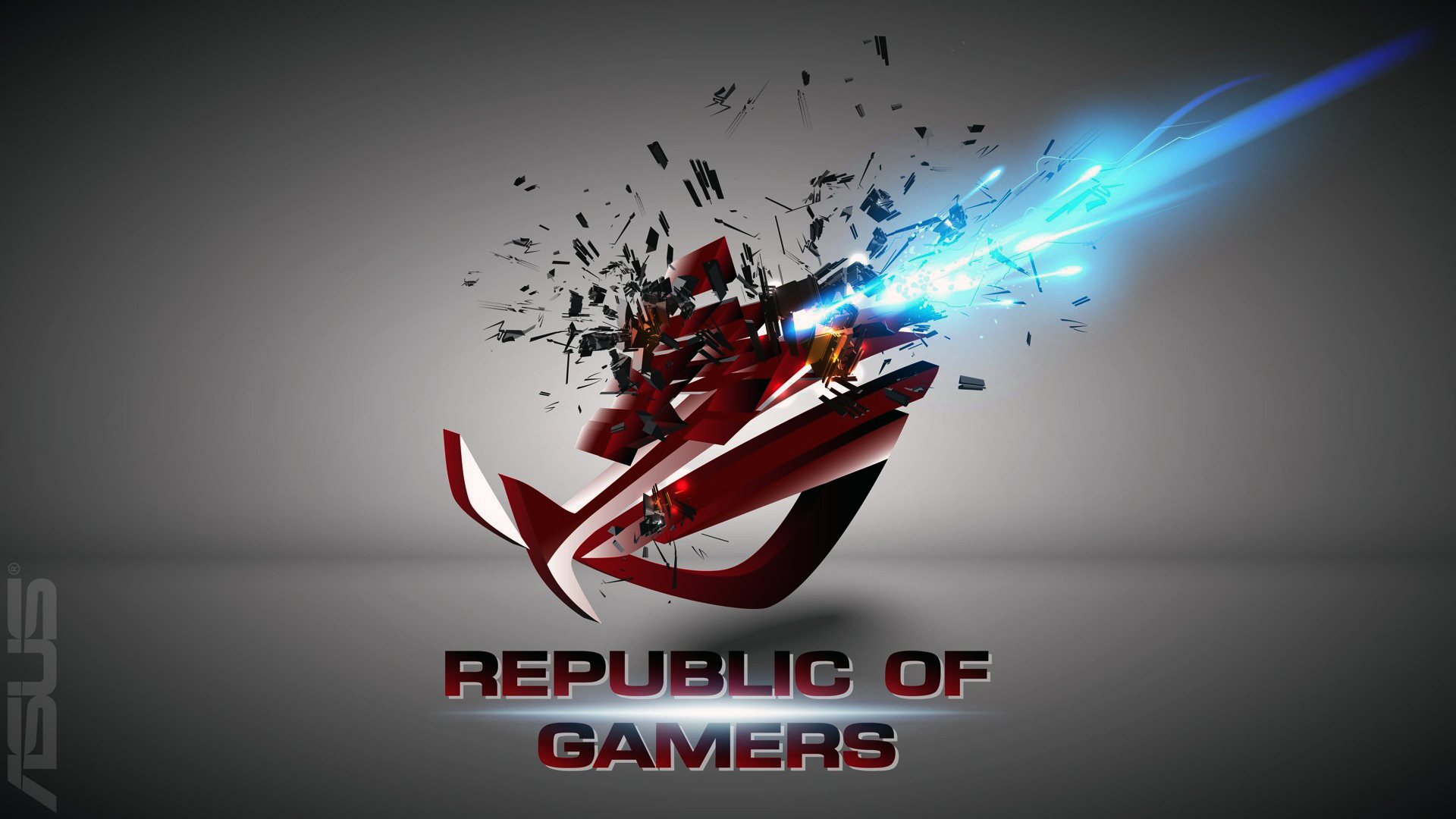 asus rog republic of gamers logo shattered explosion hd 1920x1080 1920x1080