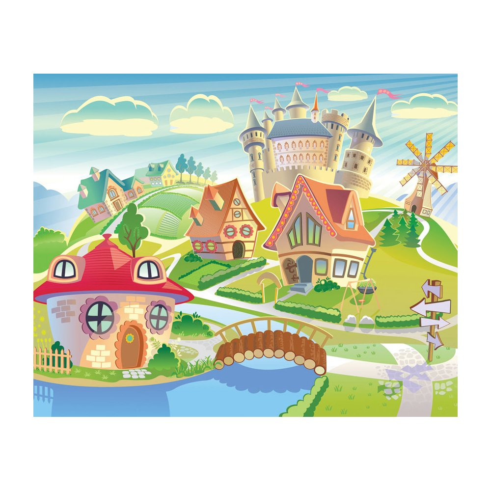 MD4058 Fantasy Village Kid Removable Wallpaper Mural Lowes Canada 1000x1000
