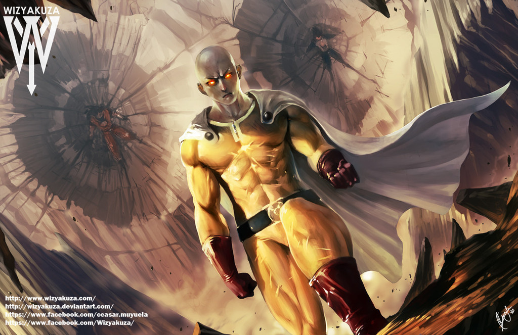 The Anime War One Punch Man VS DBZ epicscifiart 1024x663