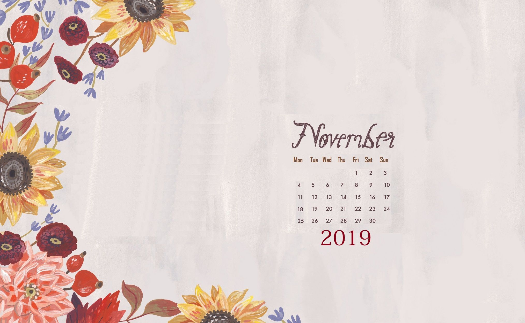 Floral November 2019 Background Screensaver Desktop in 2019 2028x1250
