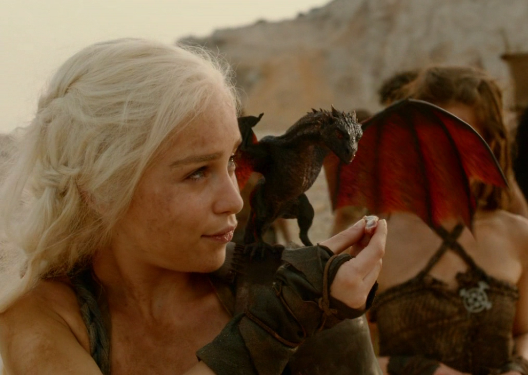Dany with one of her dragons   Game Of Thrones   Dragons Photo 1082x768