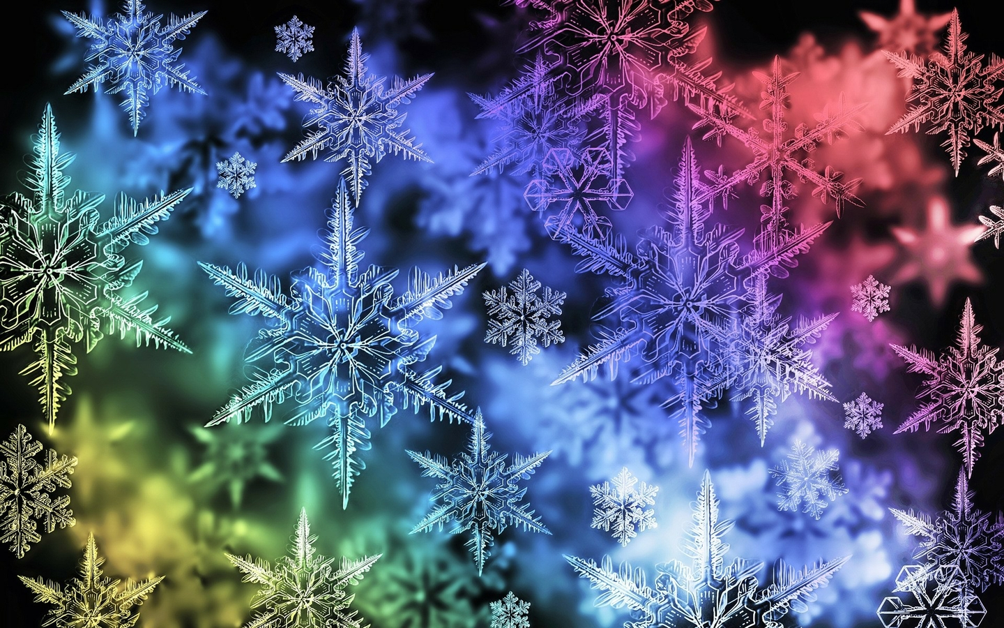 Colorful Snowflake Desktop Wallpaper 1440x900