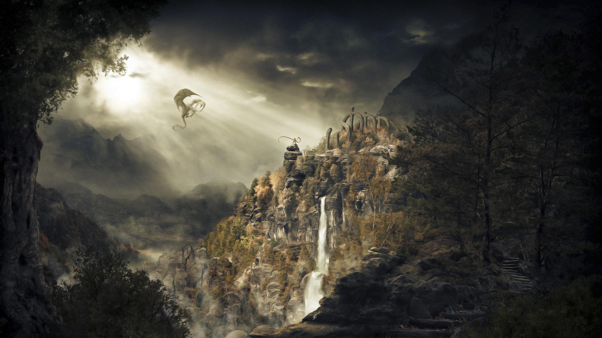 Wallpaper dragon mountains waterfalls skyrim dragonborn wallpapers 1920x1080
