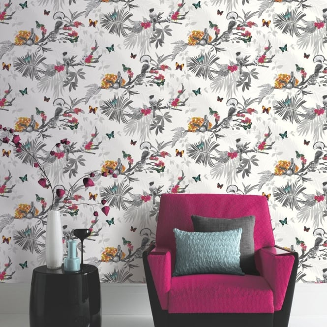 Forest Floral Leaf Pattern Bird Butterfly Motif Wallpaper 664802 665x665
