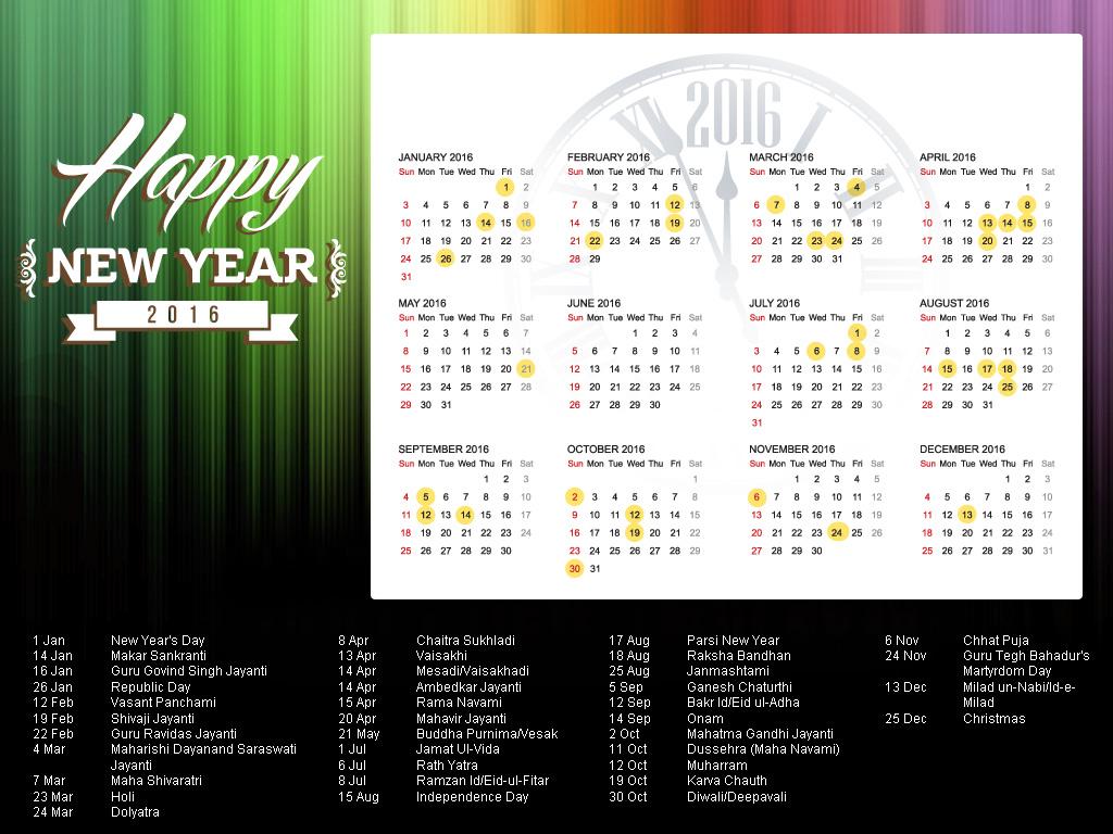 2016 Year Calendar Wallpaper Download 2016 Calendar by Month 1024x768