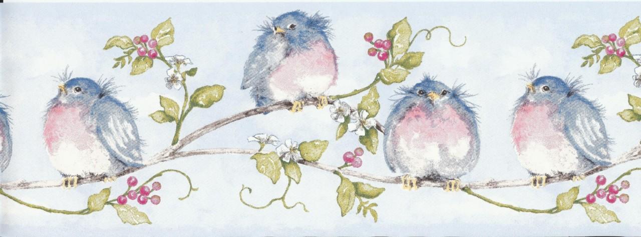 Wallpaper Border Chubby Blue Birds On Vine 1280x474