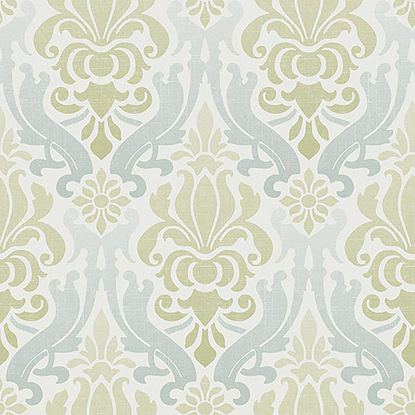 Blue and Green Nouveau Damask Peel And Stick Wallpaper 600x600