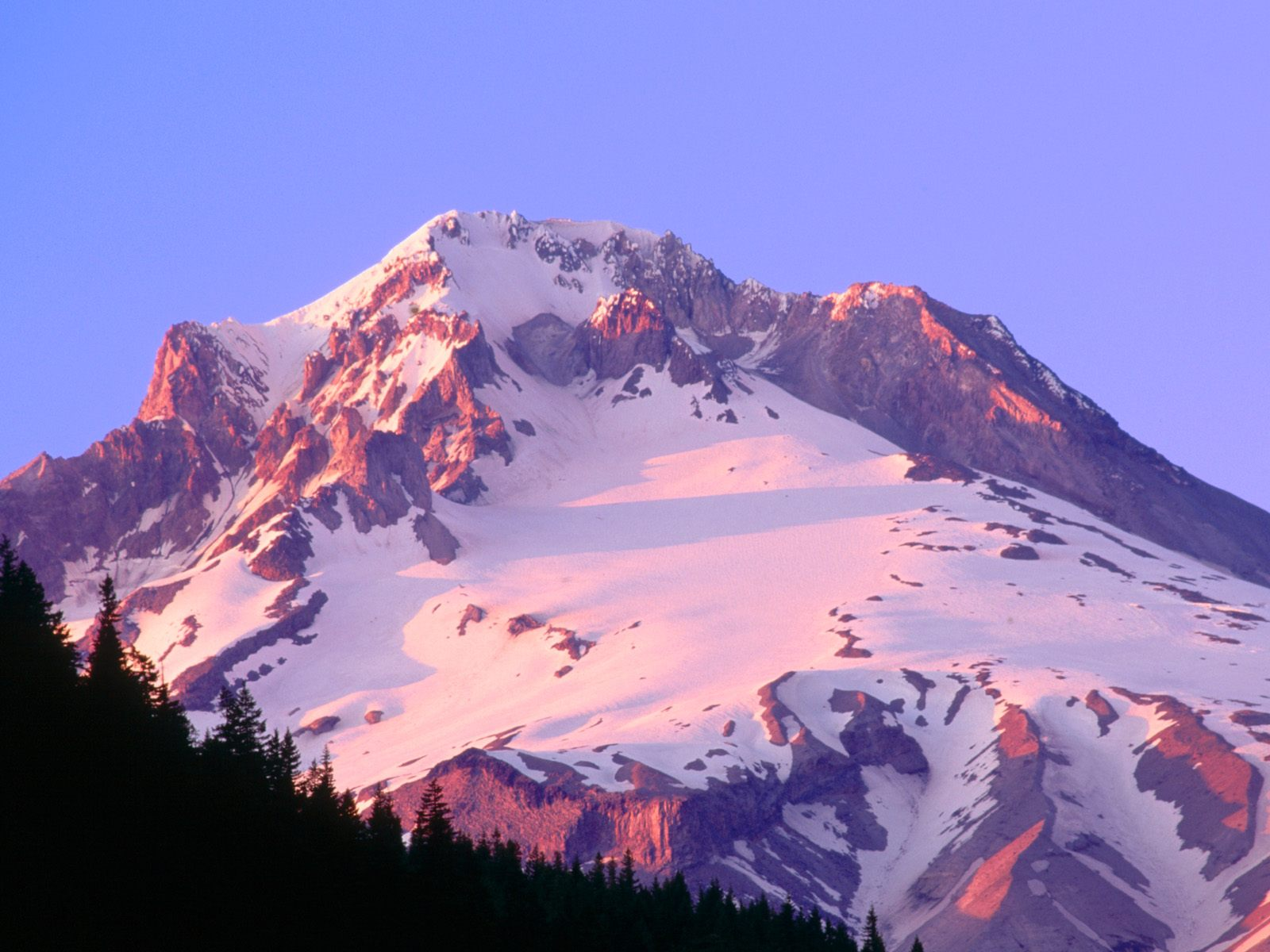 Alpenglow on the Slopes of Mount Hood Oregon widescreen wallpaper 1600x1200