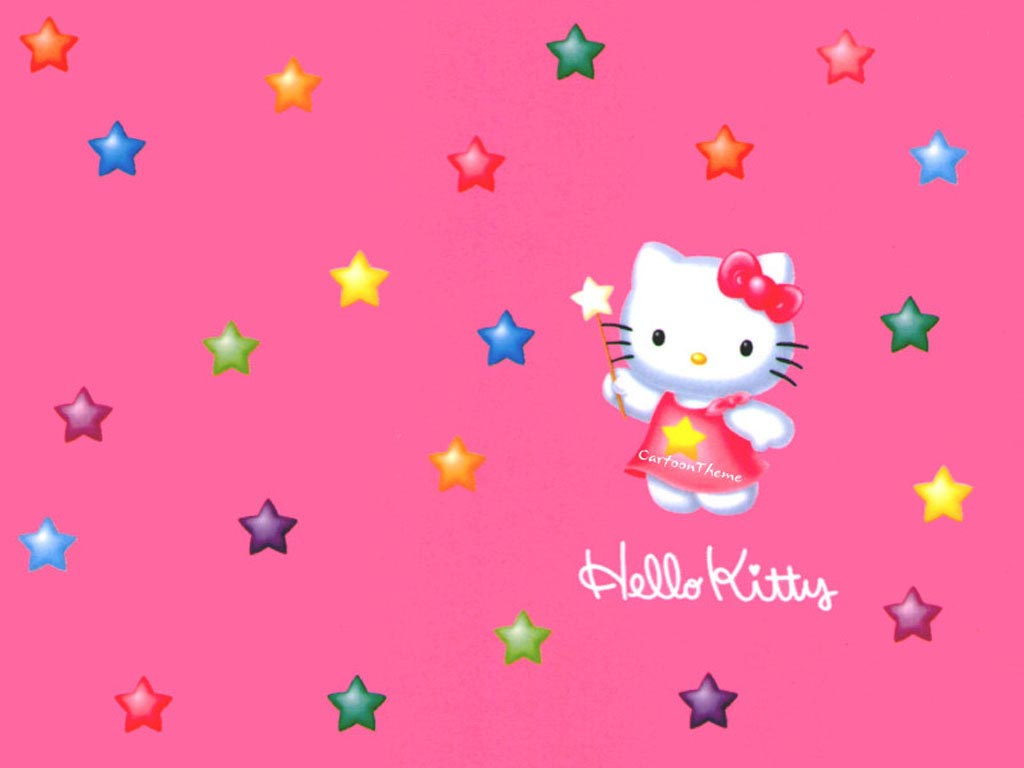 Colorful Hello Kitty Pentagram Wallpaper Hello Kitty Wallpapers 1024x768