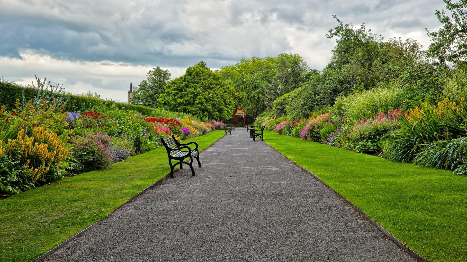 Wallpaper Garden Park Road Benches Landscape   Garden Hd 1920x1080