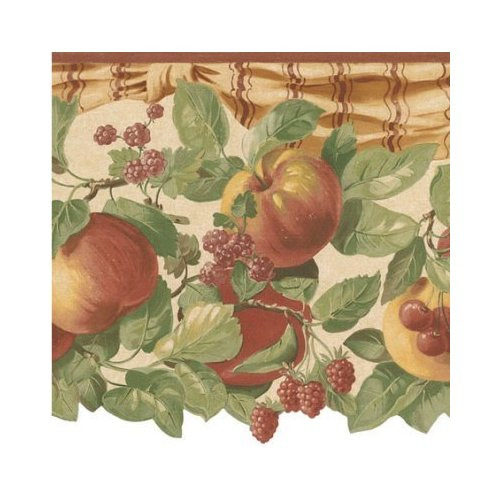 Wallpaper Border French Country Fruit Swag Cherries Peaches 500x500