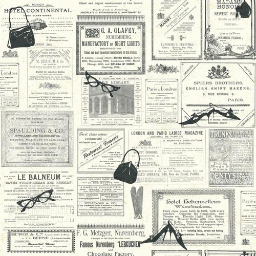 French Newsprint Wallpaper York wallcoverings newsprint 500x500