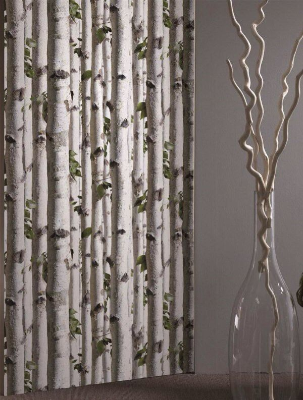 White birch tree wallpaper And i thought it was curtains More 600x793
