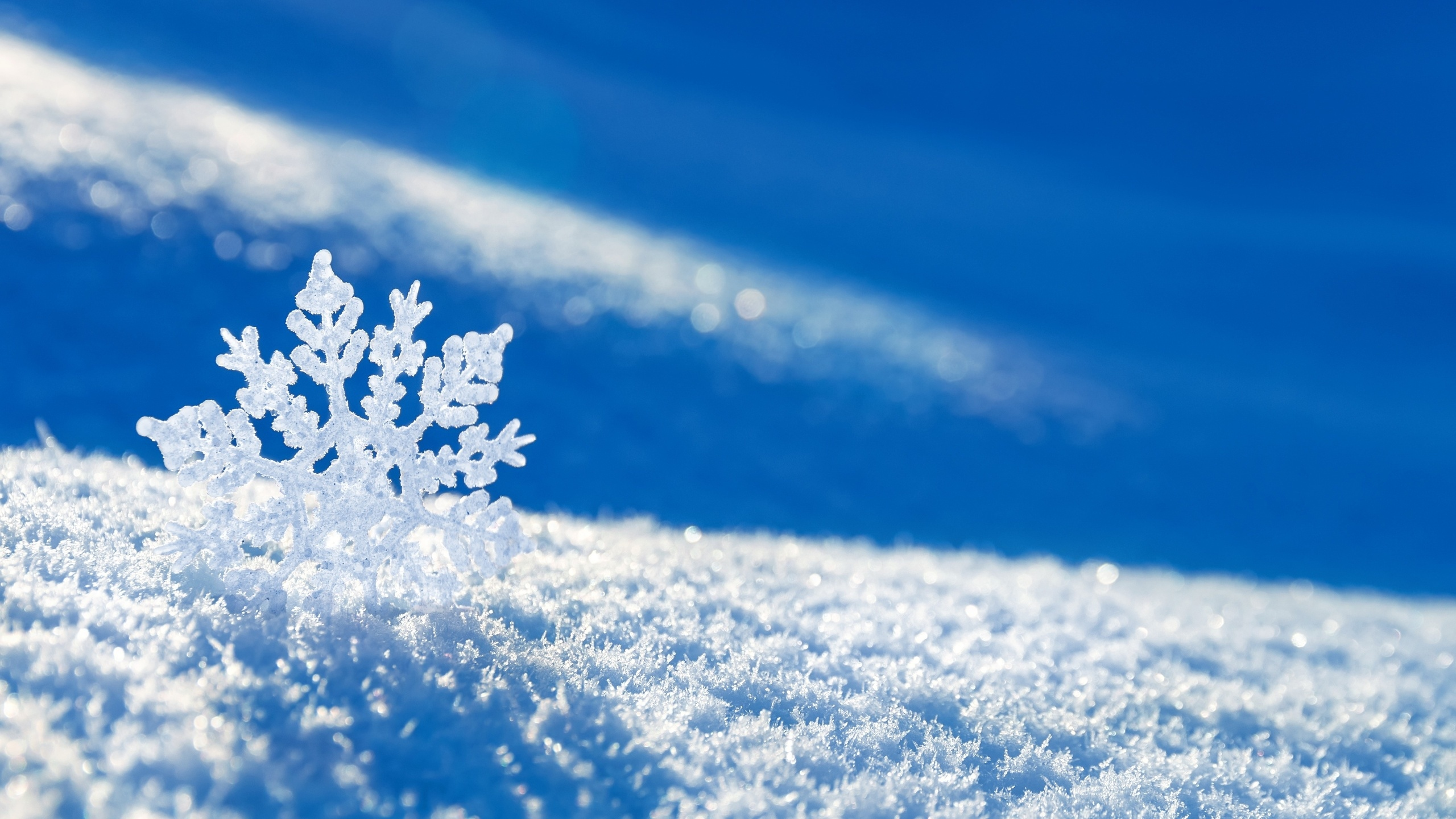Download Wallpaper 2560x1440 Snow Snowflake Winter Mac iMac 27 HD 2560x1440