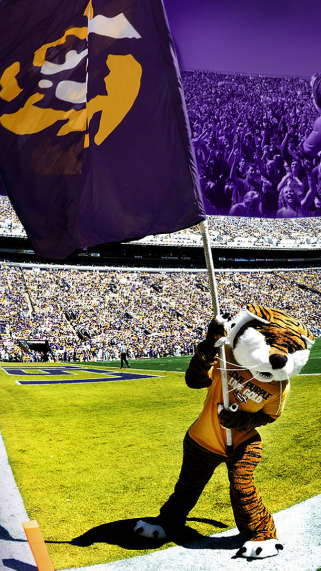 Mike the Tiger waving an LSU flag iPhone 5 Wallpaper 640x1136 640x1136