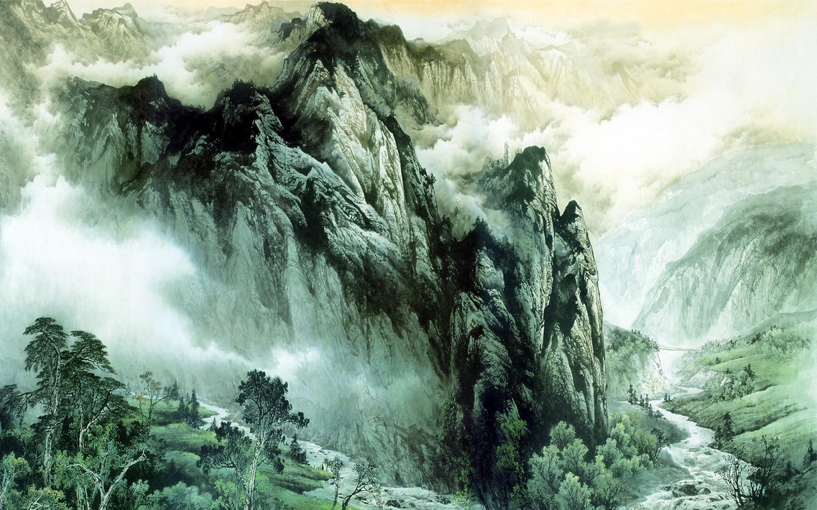 Asian mountainous landscape   Asian painting wallpaper 1600x1000