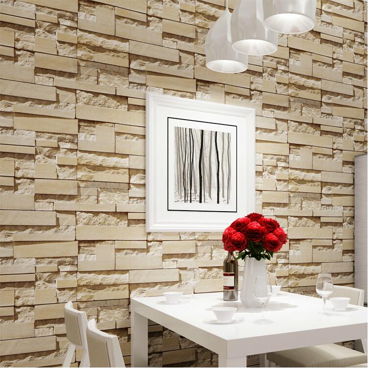 wall paper Luxury Stone Brick wall Vinyl Wallpaper Roll papel de 751x751