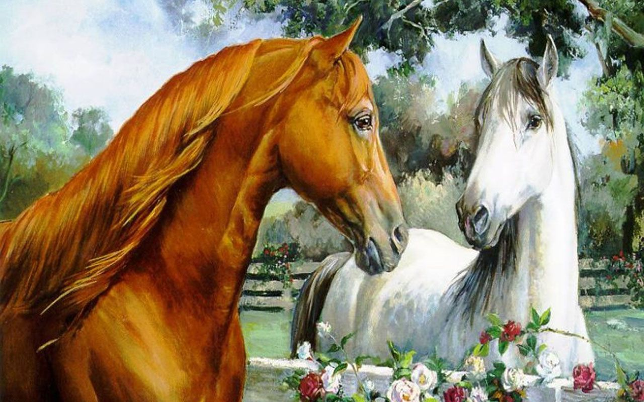 Wallpapers Blog Archive Brown And White Horse Painting Wallpaper 1280x800
